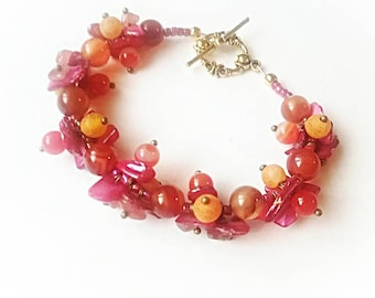 Red gemstone bracelet handmade jewelry agate shell beaded cuff for Mom gift for her red orange yellow vibrant unique boho strawberry glamor