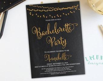 Bachelorette Invitation, Bachelorette Party Invitation, Chalkboard Bachelorette Invitation, Glitter Bachelorette, Vintage Lights Invitation