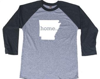 Homeland Tees Arkansas Home Tri-Blend Raglan Baseball Shirt