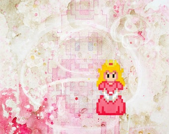 Pixel Peach and Pixel Mario Limited Edition Archival Art Prints