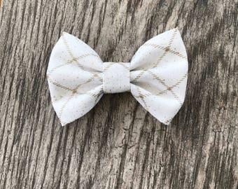 white and gold sparkly bow- sparkly hair bow- ivory headband - spring  headband