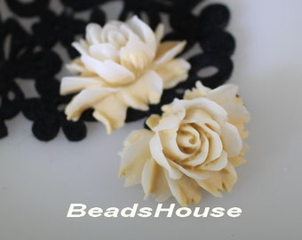 34-00-BK 2pcs High Quality Cabbage Rose Cabochon - Beige / White
