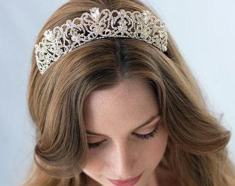 Silver Bridal Tiara, Wedding Crown, Vintage Bridal Tiara, Bridal Hair Accessory, Rhinestone Wedding Tiara, Royal Wedding Crown ~TI-3175