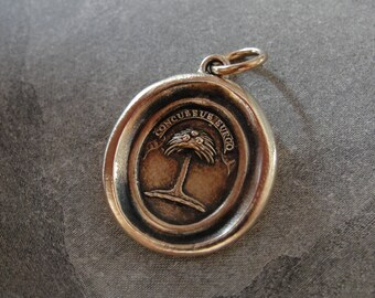 Wax Seal Pendant Palm Tree - antique wax seal jewelry charm When Struck I Rise Latin motto crest by RQP Studio