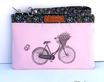 Pink Bike Bicycle Mobile Phone Wristlet fits iPhone 10, X, 8, 7, 6 Plus Samsung Galaxy S8 plus Card Holders Zip Closure
