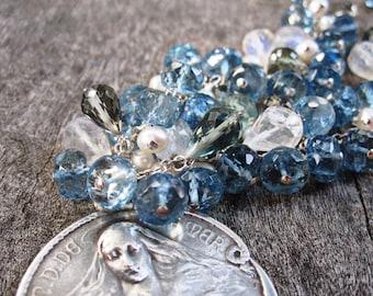 Stella Maris, Our Lady Star of the Sea Antique Catholic Medal Necklace, Multi Gemstone, Santa Maria Aquamarine, Tourmaline, Moonstone, Pearl