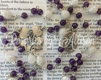 Amethyst Gemstone and Snow Quartz Gemstone Chaplet to St Joseph with silver plated Madonna & Child center and St. Joseph medal