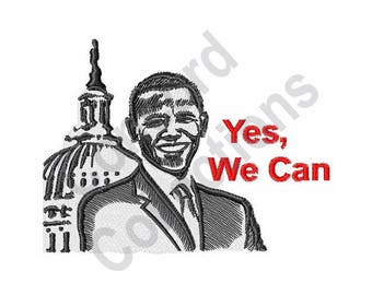Yes, We Can - Machine Embroidery Design, President Obama
