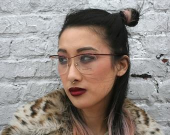 Vintage Unused 1980s Etiquette Designer Eyeglasses Tortise Shell + Gold Glasses