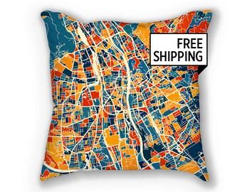 Graz Map Pillow - Austria Map Pillow 18x18