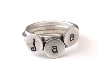 Mini Initial Stacking Rings in Sterling Silver