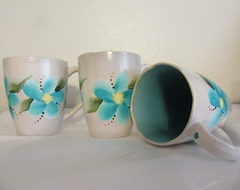 Mugs Floral Unique Gray Hand Painted by ME Aqua One of a KindAqua Inside Mug Unique Mugs Awesome Gift Idea Kitchen Decor BUY 2 Get 1 FREE