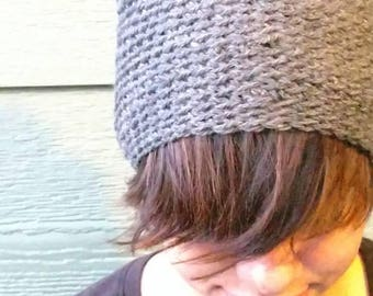 Beanie Gray Slouchy Beret Crochet Hat Celebrity style grey hat fall winter fashion boho hippie hat made with soft worsted yarn