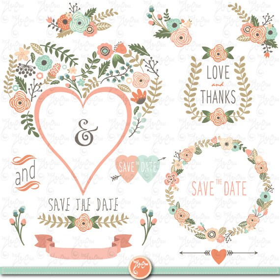 wedding clipart pack floral heart shape vintage rh etsy com free vintage wedding clipart images free wedding vintage clip art