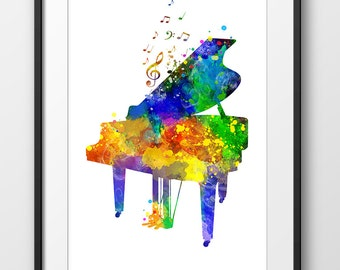 Piano Print, Piano Watercolor Print, Music Wall Art, Music Poster, Music Instrument Poster, Piano Art (A0328)