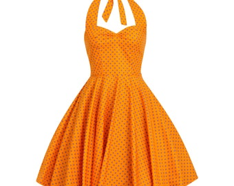 Retro Party Dress Orange Dress Summer Dress Polka Dot Dress Sun Dress Beach Dress Pin Up Dress Rockabilly Dress Swing Dress Plus Size Dress