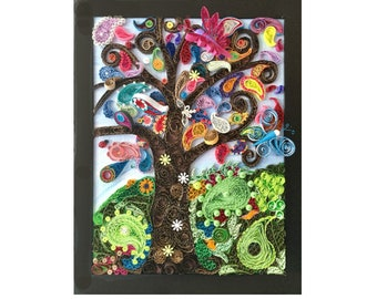 Paisley shaped 3D quilled tree art - colorful abstract art - colorful tree art - mosaic quilled art - colorful paper art - quilled paisley