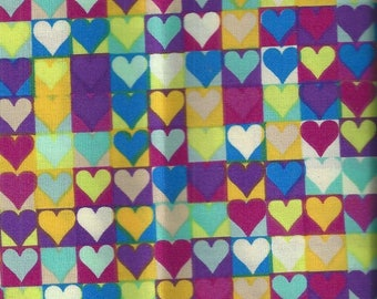 Cotton fabric printed with hearts - 75x30 cm