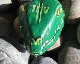 Alligator Head Painted Rock
