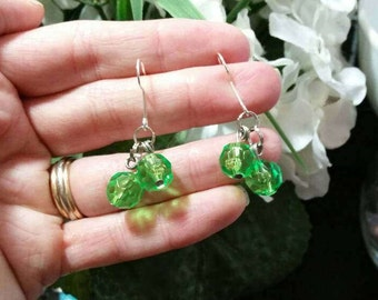 Simple Green Beaded Dangle Earrings - Girls Jewelry - Fashion Accessories, 925 sterling silver hook, clip on, gifts for girls, school spirit