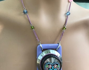 Now We're Cookin'! upcycled necklace: rhinestone heart - 769
