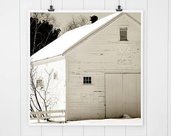 White Barn photo, rustic farmhouse decor, fixer upper decor, white barn in the snow, country living, home decor, white rustic wall decor