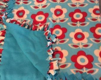 Fleece Tie Blanket Flowerd Theme Red Tan and Blue Tie Blanket