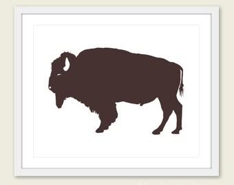Buffalo Art Print - Buffalo Wall Art - Modern Buffalo Art - Rustic Buffalo Print - Brown Buffalo Art - Buffalo Poster - Aldari Art