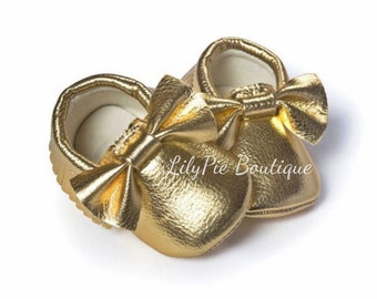 Soft Baby Moccasins Gold
