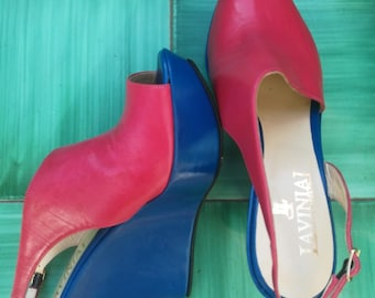 PEEP TOE WEDGE Sandals 90s Woman Sandals 'LaviniaL' Made in Italy Blue/Ruby Genuine Leather Shoes sz. 40