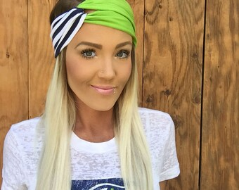 Striped Vintage Style Seattle Turban Headband || Hair Band Accessory Knit Stripes Workout Yoga Fashion Navy Blue Green White Scarf