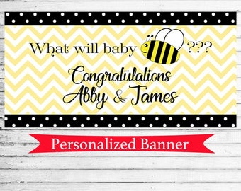 "18""x36"" Personalized Gender Reveal Party Banner 
