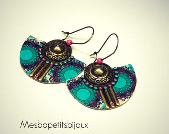 Blue and pink Bohemian style earrings, half moon, mandala