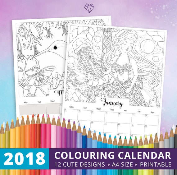 coloring calendar 2018