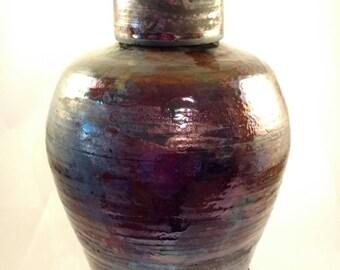 Cremation urn with metalic glaze, raku fired, large adult urn