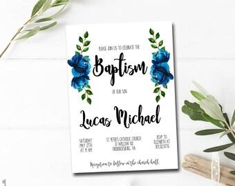 BAPTISM INVITATION Boy Christening Invitation Boy Floral DIY Invitation Printable Baptism Invite
