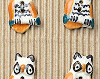 5 Fun Owl Buttons, Handmade, Fully Washable, Incomparable Buttons, ButtonMad, L166