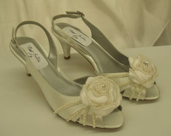 Diamondwhite Wedding Shoes small heel, Pearls, Pearl & Satin Rosette, Open Toe Slingbacks, Pearl adorned, Short heel,  Wide Widths Available