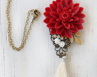 Long Beaded Necklace with Tassel - Long Tassel Necklace - Beaded Long Tassel Necklace - Boho Beaded Tassel Necklace- Bohemian Tassel Jewelry