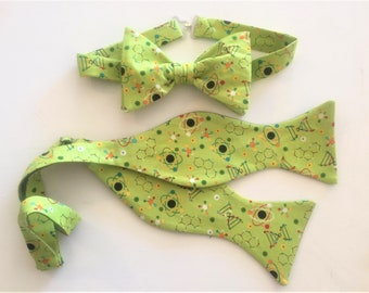 Science is Green Bow Tie.  For any Scientist whom wants to go green. Physics, Chemistry, Biology, Molecules, Atoms.