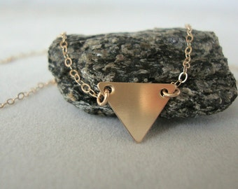 Gold-Filled Triangle Necklace - Handmade Jewelry - Everyday Necklace - Minimalist Jewelry - Brushed Gold Triangle - Geometric Necklace