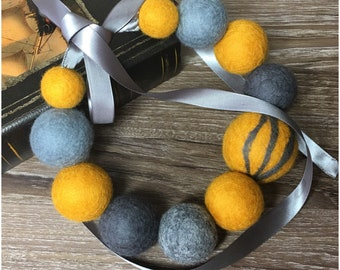 Mustard and Gray Felted Ball Necklace
