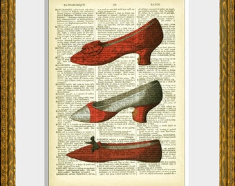 THREE RED SHOES recycled book page art print - an antique dictionary page with a French Fashion  illustration - home decor - vintage charm
