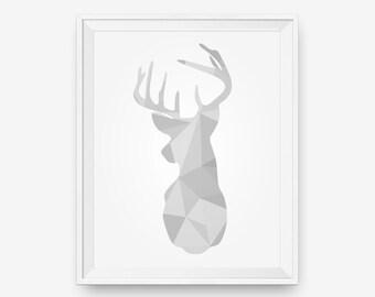 SALE Printable Deer Head Art, Geometric Grey Deer art, Deer Antlers Print - Digital Download - Printable Art