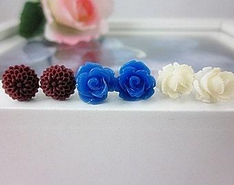 Set of 3 Flower Stud Earrings. Post Earrings. Brown, Ivory, Blue flowers. Gift for her.