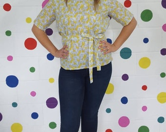 SALE Elephant Wrap Top. Ladies' wrap top. Short sleeves. Yellow. Cotton Top. Elephants. Summer clothing. Ladies Work Top. Printed top.