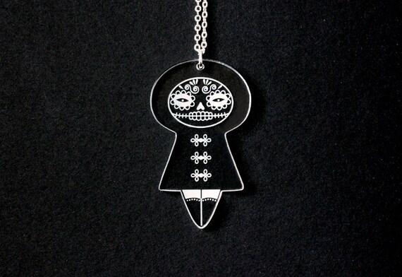 Mexican doll necklace - dia de los muertos pendant - santa muerte - calavera - mexican jewelry - dark - cute - lasercut clear acrylic