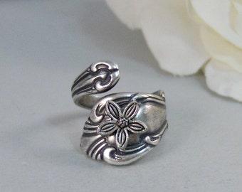 Jasmine Flower,Ring,Silver,Spoon,Spoon Ring,Jasmine,Flower,Antique Ring,Silver Ring,Wrapped,Adjustable,Bridesmaid.by valleygirldesigns.