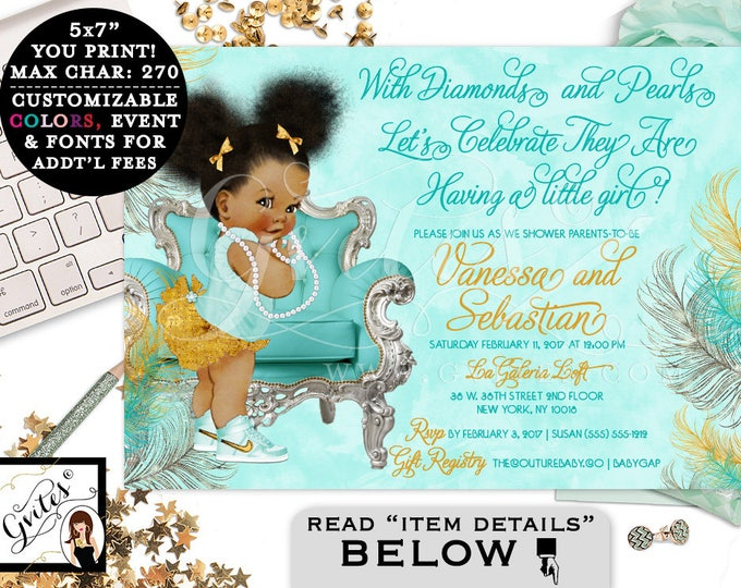 Blue themed African American baby girl shower invitations, turquoise blue gold silver, ethnic baby, bows diamonds pearls. Afro Puffs. Gvites