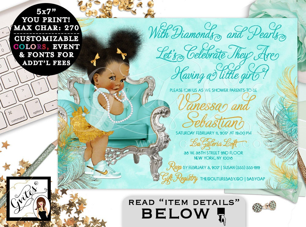 Blue themed African American baby girl shower invitations ...